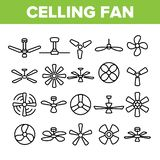 Ceiling Fans, Propellers Vector Linear Icons Set vector illustration