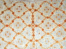 Ceiling floral mosaic decorations on Ali Qappu palace of Isfahan in Iran Stock Image