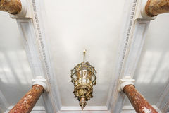 Ceiling fragment. With marble pillars in interior Royalty Free Stock Photo