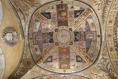 Ceiling Fresco. Beautiful medieval ceiling fresco in the Fondazione Accademia Musicale, Siena Stock Images