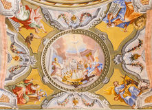 Ceiling fresco of chapel in Saint Anton palace Stock Photo