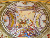 Ceiling fresco of chapel in Saint Anton palace Royalty Free Stock Photo
