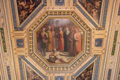 Ceiling fresco by Giorgia Vasari and Giovanni Stradano in the Room of Gualdrada, Palazzo Vecchio, Florence, Italy. stock images