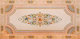 Ceiling fresco from library in palace Saint Anton. SAINT ANTON, SLOVAKIA - FEBRUARY 26, 2014: Detail of ceiling fresco from library in palace Saint Anton from 19 Stock Images