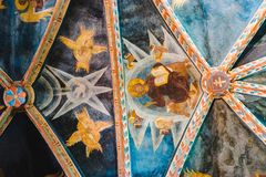 Ceiling frescoes - with Christ, angels and dove stock photos