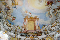 Ceiling frescoes in Church of Wies Royalty Free Stock Image