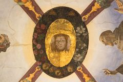 Ceiling frescoes fragment in the Eleonora`s Chapel, Palazzo Vecchio, Florence, Italy. royalty free stock images