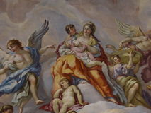 Ceiling frescoes in the Karlskirche in Vienna Stock Image