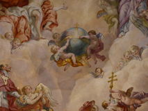 Ceiling frescoes in the Karlskirche in Vienna Royalty Free Stock Photography