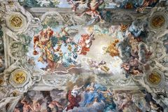 Ceiling frescos with a religious theme stock images