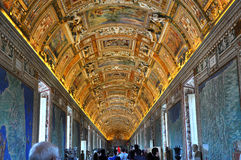 The ceiling of the Gallery of Maps. Vatican museum Stock Images