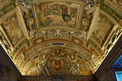 Ceiling in Gallery of Maps. Vatican Museums. The Vatican Museums originated as a group of sculptures collected by Pope Julius II (1503-1513) and placed in what Stock Photo