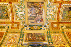 The ceiling in the Geographic gallery of the Vatican Museums Royalty Free Stock Photography