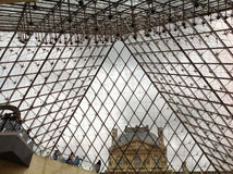 Ceiling of the glass pyramid of the Louvre museum Stock Image
