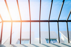 Ceiling glass roof, eco building. Stock Photo