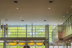 Ceiling and glass walls and  and mezzanine in the lobby. Royalty Free Stock Photo