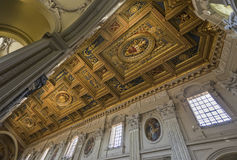 The ceiling with gold details in Basilica di San Giovanni in Lat Stock Photo