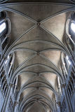 Stone arched ceiling of a gothic cathedral, Lausanne, Switzerland Stock Photo
