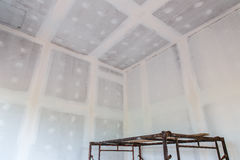 Ceiling gypsum board of house at building site Royalty Free Stock Photo