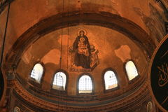 Ceiling of Hagia Sofia in Istanbul. Decorated ceiling with christian painting of Maria and child Jesus of former church and mosque and current museum Hagia Sofia Stock Images