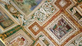 Ceiling in hall of Vatican Museum. Painted ceiling decorated with ornaments in hall of Vatican Museum, Vatican city in Rome, Italy stock video
