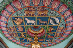 Ceiling of a Hindu Temple Stock Photo