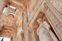 Ceiling of historical Celsus Library of Ephesus city with antique sculpture. At entrance, Turkey. Greek city Ephesus founded on 10th century BC Royalty Free Stock Photography