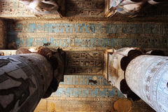 The ceiling in the hypostyle hall of the temple of Hathor Stock Photography