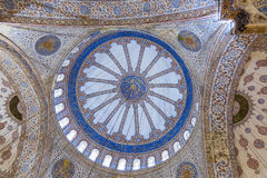 Ceiling inside the Blue Mosque in Sultanahmet, Istanbul, Turkey. Royalty Free Stock Image