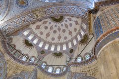 Ceiling inside the Blue Mosque in Sultanahmet, Istanbul, Turkey. royalty free stock photos