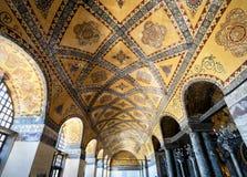 The ceiling inside Hagia Sophia (Ayasofya), Istanbul, Turkey. ISTANBUL - MAY 25, 2013: The ceiling inside Hagia Sophia. Church of Hagia Sophia (Ayasofya) is the royalty free stock photos