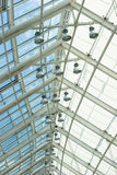 Ceiling inside shopping mall. Ceiling with lamps inside modern shopping mall Stock Image