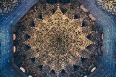 Ceiling with intricate sculpted details of moorish arabian origi royalty free stock image