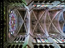 Ceiling of L'eglise des Reformes in Marseille. Colorful gothic ceiling with stained-glass windows in the Saint Vincent de Paul church in Marseille, France Royalty Free Stock Photos