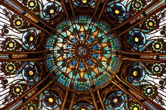 Ceiling of the Lafayette. Luxury shopping mall in Paris royalty free stock photography