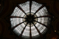 Ceiling of the Lafayette luxury shopping mall in Paris. France Stock Images