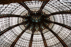 Ceiling of the Lafayette luxury shopping mall in Paris, France.  Royalty Free Stock Photography