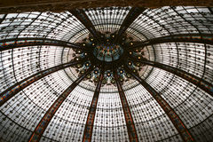 Ceiling of the Lafayette luxury shopping mall in Paris. France Stock Image