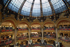 Ceiling of the Lafayette luxury shopping mall in Paris. France Royalty Free Stock Photo