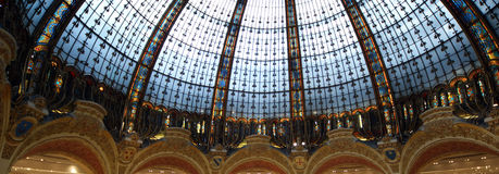 Ceiling of the Lafayette luxury shopping mall in Paris. France Royalty Free Stock Images