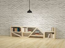 Ceiling lamp with bookcase on wooden floor bricks wall Royalty Free Stock Photos