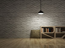 Ceiling lamp with bookcase on wooden floor bricks wall Royalty Free Stock Images