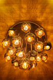 Ceiling lamp made from carving coconut shell Royalty Free Stock Photo