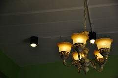 Ceiling lamp in vintage style. And dark wall Stock Images