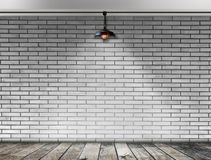 Ceiling lamp whit White Brick wall Stock Photo