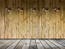 Ceiling lamp in wood room stock photos