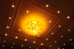 The ceiling lamps. The pendant lamps fixed in the hotel ceiling Royalty Free Stock Image