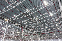 Ceiling lamps with diode lighting in a modern warehouse Royalty Free Stock Images