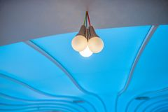 Ceiling lamps in the hall. Celebration stock photo
