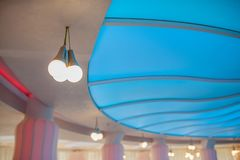 Ceiling lamps in the hall. Design royalty free stock image